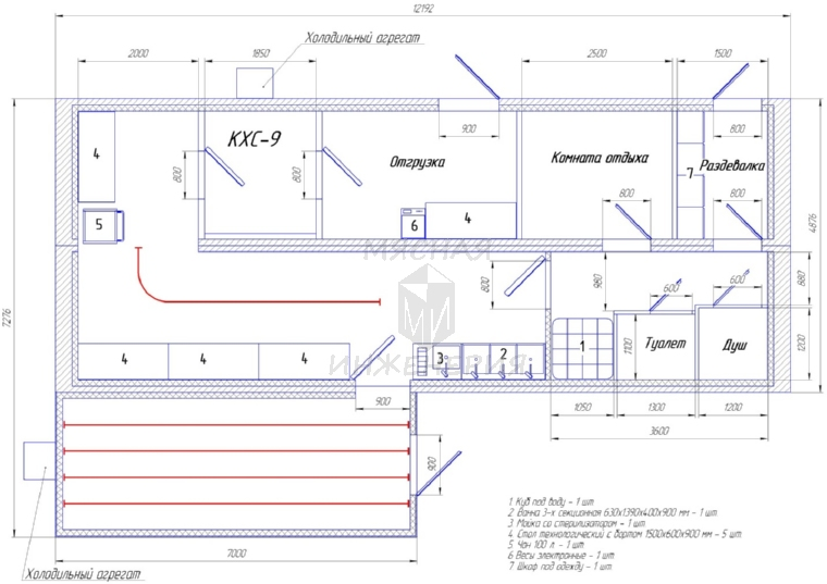 Схема и состав цеха
